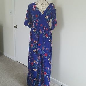 Floral dress romper  with shorts size large